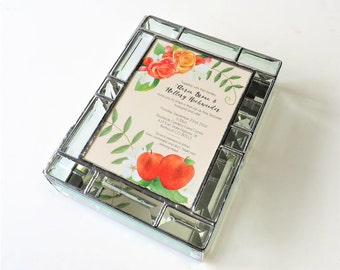 Stained Glass Keepsake Gift Box Wedding Invitation 7x9x2 All Beveled Handmade Custom Made-to-Order