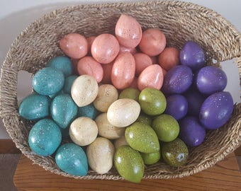 Painted gourd eggs/Easter/bunny/spring/decor