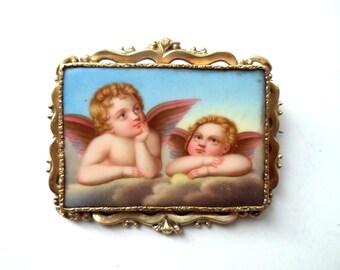 Antique 14K Hand Painted Brooch Cherubs Sistine Madonna Raphael
