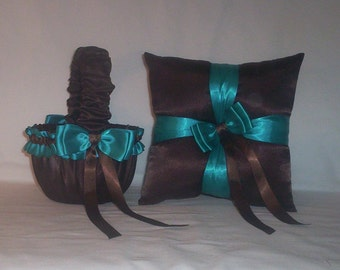 Chocolate Brown Satin With Teal Ribbon Trim Flower Girl Basket And Ring Bearer Pillow