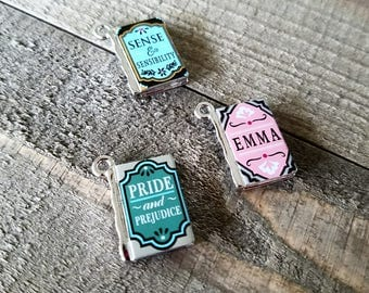 Miniature Book Charms Metal Charms Tiny Book Charms Book Pendants Author Charms Library Charms Librarian Charms Silver Charms Set of 3 PRE