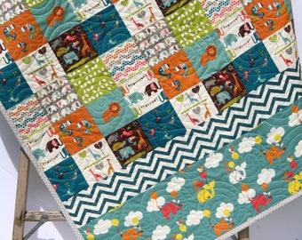 Organic Baby Quilt, Safari Soiree, Birch Fabrics, All Natural Eco Friendly Blanket, Zoo Animal Patchwork Elephant Giraffe