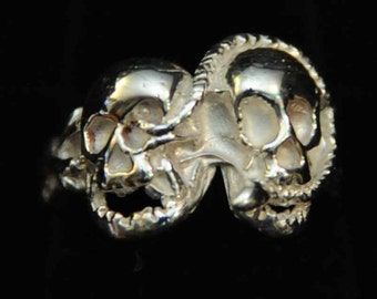 The double skull sterling silver ring