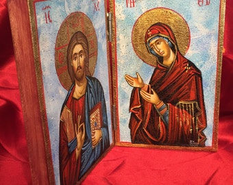 Hand Painted Orthodox Diptych Theotokos & Christ Wooden Hand Carved Icon 26x20cm Approx.