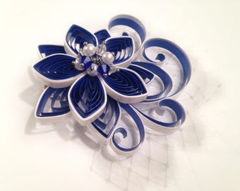 Gift for Groom, Sapphire Blue and White Boutonniere, Groom's Boutonniere