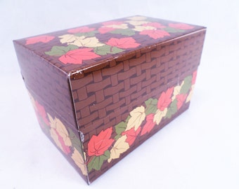 Autumn Leaf Metal Recipe or Stash Box Vintage 80s