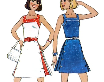 Simplicity 6981 Vintage 70s Sewing Pattern for Misses' Mini Dress - Uncut - Size 14 - Bust 36