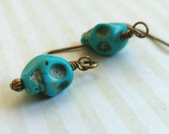 Turquoise Skull Earrings Day of the Dead With Antiqued Gold Plated Brass Accents and Simple Earwires