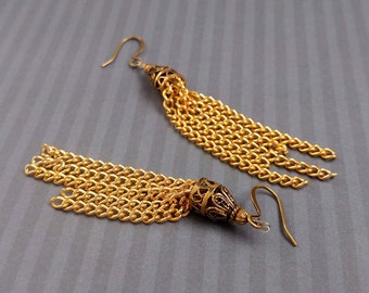 Gold Chain with Antiqued Gold Plated Brass Accents Dangle Earrings