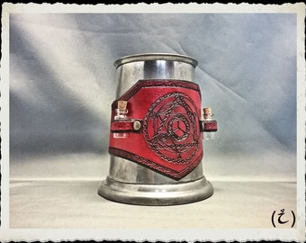 Leather tankard / mug wrap - Alchemist - Red