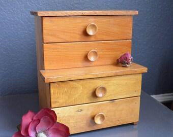 Vintage Doll Dresser Nursery Decor Brown Wooden Display Salesman Sample Jewelry Box Vintage Storage Shop Display Handmade Box 4 Drawer