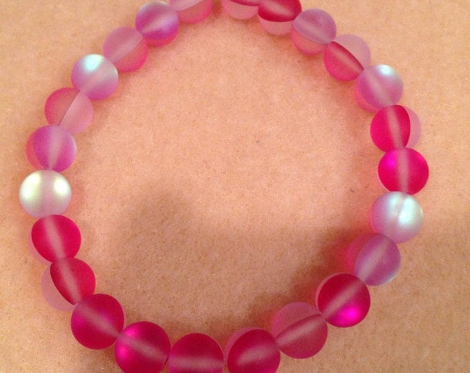 Pink Frosted Matte Aqua Aura Mystic Crystal Glass 8mm Bead Stretch Bracelet with Sterling Silver Accent - Neon Iridescent Aurora Borealis
