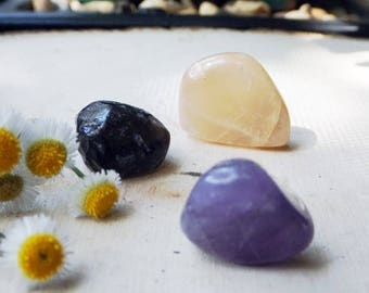 GRIEF Crystal Set - Peach Moonstone, Apache Tear, Black Amethyst, crystal healing