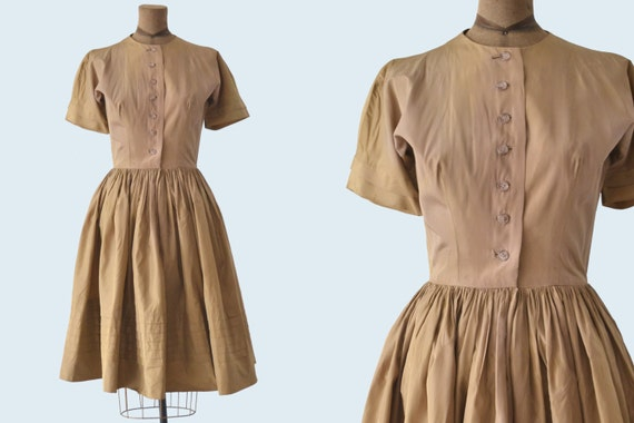 1950s Gold Satin Dress size XS