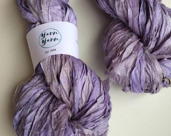 Silk sari ribbon, lavender, premium quality, jewelry making ribbon, knitting ribbon, ethical yarn, recycled yarn. 100g