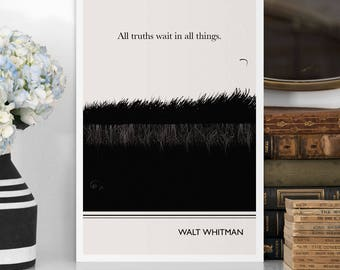 "Large Art Poster, ""Walt Whitman"" Quote Literary Art Prints, Minimalist Illustration, Large Wall Art Quote Prints, Vertical Living Room"