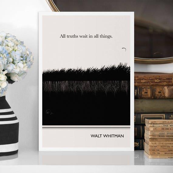 Large Art Poster Walt Whitman Quote Literary Art Prints