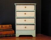 Vintage Dresser / Antique Folk Art Small  Dresser / Studio Storage Four Drawer / Doll Dresser / Handcrafted / Cigar Box Drawers