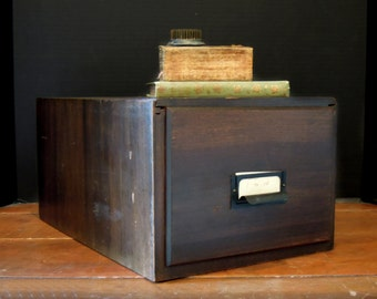 Large Vintage Weis Wood Card File Box / Urban Industrial Box / Storage / Cabinet Photo Box