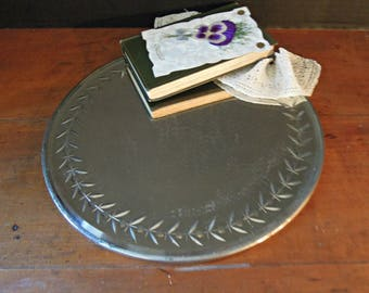 Vintage Silver Beveled Rimmed Vanity Mirror / Perfume Tray / Vanity Tray / Mirror Tray / Valentine's Day Gift / Mirrored Tray / Round Mirror