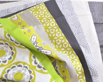 Fat Quarter Bundle - modern grey and lime green