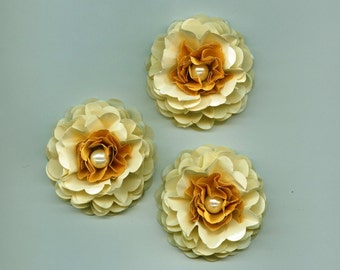 Gold, Champagne and Ivory Pearls Peony Paper Flowers Elegant wedding