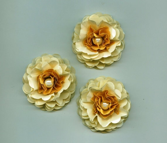 Gold, Champagne And Ivory Pearls Peony Paper Flowers