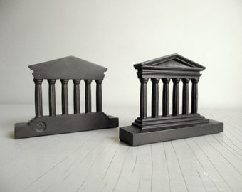 Parthenon Bookends | 1920's Bradley and Hubbard Bookends | B&H Bronze Over Cast Iron Bookends | Roman Greek Columns | Vintage Library Decor