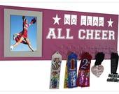 Cheerleading gifts, Personalized cheerleading gifts, Cheerleading medal holder, Cheer medal holder, Cheerleading bows hanger & display rack