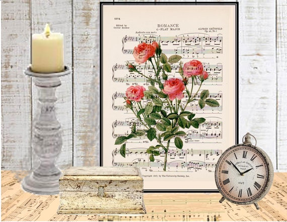 Romantic pink roses wall art Dictionary art print Wall decor Bedroom Guest room art Sheet music COUPON Digital art print Flower print No 675