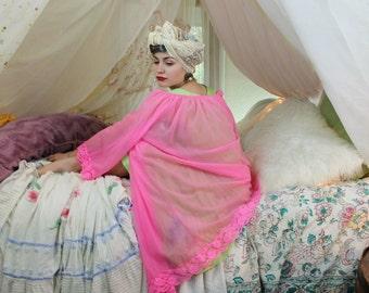 FLAMINGO Nylon Vintage 1960's Night Gown Hot Pink Lingerie Romantic Nightie Peignoir