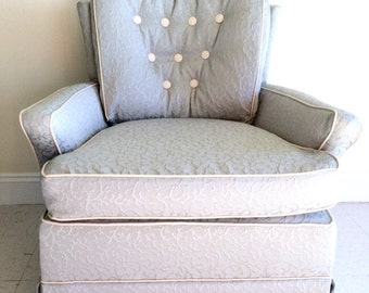 Custom Upholstered Coastal Swivel/Rocking Chair