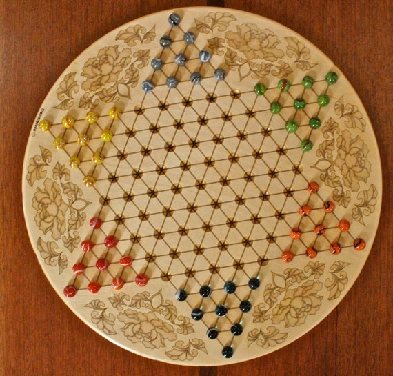 "High Quality Large Chinese Checkers w 16mm/5/8"" designer Marbles- Flower Pattern Laser Engraved,  18 5/8"" Dia x 5/8"" thick,  Paul Szewc"