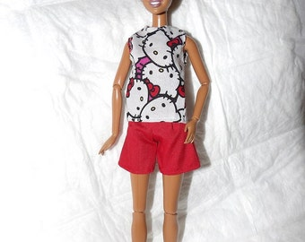 Red shorts & a cartoon kitty print top for Fashion Dolls - ed986