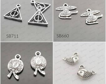 100 Wholesale Buys Piano/Fish/Hat/Plane/ Charms Pendant Drop Antiqued Silver C-366