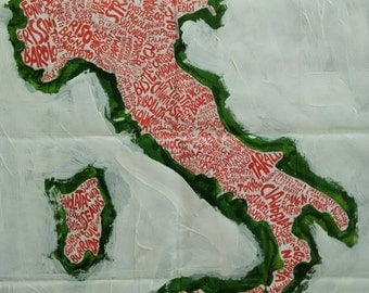 """ITÀLY MAP, ITALIAN food, original art work, acrylic paint and ink, 28"""" x 20"""", folded map"""