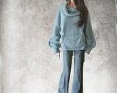 Cowl neck wide/Women blue top/Fleece pull over/Wide neck drape/Big collar/Emerald active wear/Long sleeve sweatshirt
