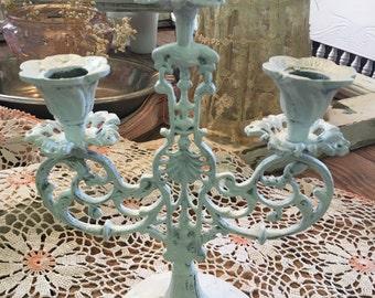 Antique Shabby White Cast Iron Candleabra~Best!