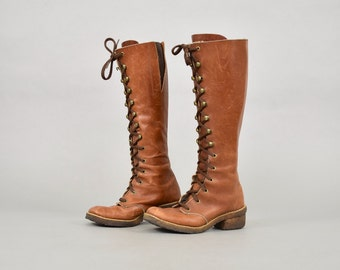 70's Lace-Up Leather CAMPUS Boots (US 6)