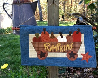 Quilted Wall Hanging, Table Topper, Pumpkin Wagon Wall Hanging , - MW