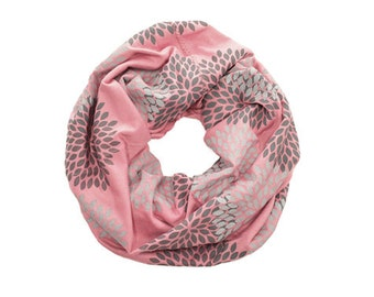 MINI INFINITY SCARF - Screen Printed - Gray Double Flowers on Rouge