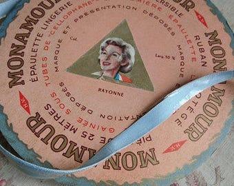 Roll gorgeous MONAMOUR 1950s tubular lingerie strap ribbon silk satin soft pale blue unused