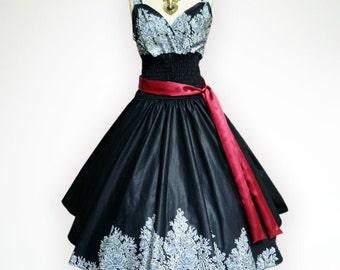 Gorgeous Beautiful Roses 50s Pin up Rockabilly Swing Dress Full Swing Skirt