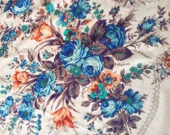 Beautiful vintage floral wool shawl