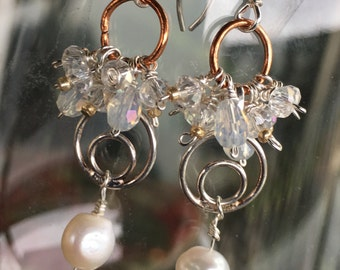 Gold and Silver Pearl Cluster Earrings