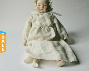 Sale -  Vintage Painted Porcelain Doll for Crafts and Parts