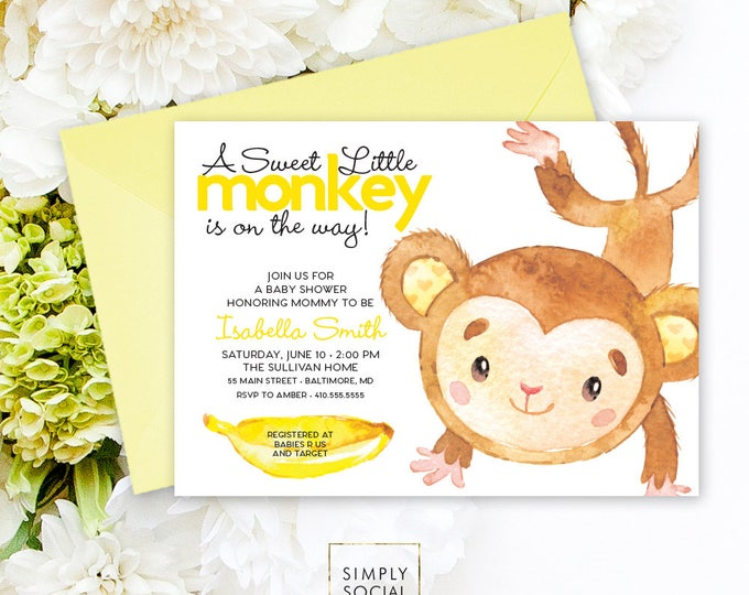 Monkey Baby Shower Invitation - Jungle Yellow Banana Gender Neutral Yellow Baby Shower Invitation Watercolor Calligraphy Printable