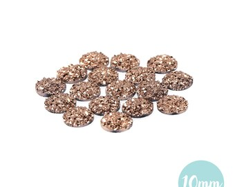 10mm Metallic Gold Faux Druzy Crystal Clusters Cabochons sfc0123