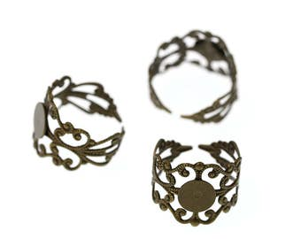Antiqued Bronze Tone Brass High Quality Adjustable Filigree Lace Ring Base