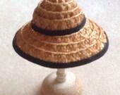 beautiful 1/12 th miniature dollhouse straw hat